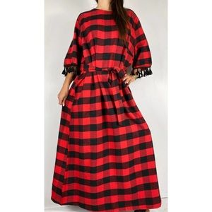 SHEIN Red Plaid Belted Maxi Dress Size 4XL 22-24
